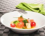 Salmón, feta y brócoli