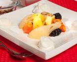 Papillote de frutas con chantilly de vainilla