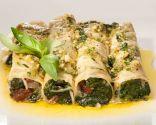 Canelones de espinacas con bacalao al pesto