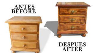 Antes y después de una mesilla de madera