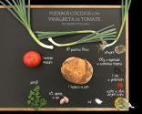Puerros cocidos con vinagreta de tomate