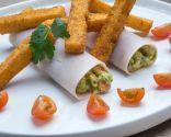 Cilindros de pavo y guacamole con polenta frita