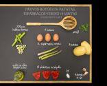 Huevos rotos con patatas, espárragos verdes y habitas