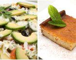 Ensalada de patata, aguacate y salmón ahumado y Quesada de paraguayo