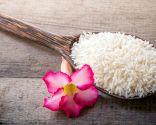 Pinchos de cerdo con arroz, plato saludable y nutritivo