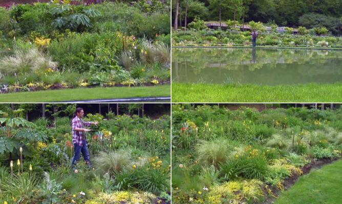Jardín grande con plantas vivaces