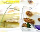 Verduras en escabeche con patatas asadas y huevo escalfado y Cuajada