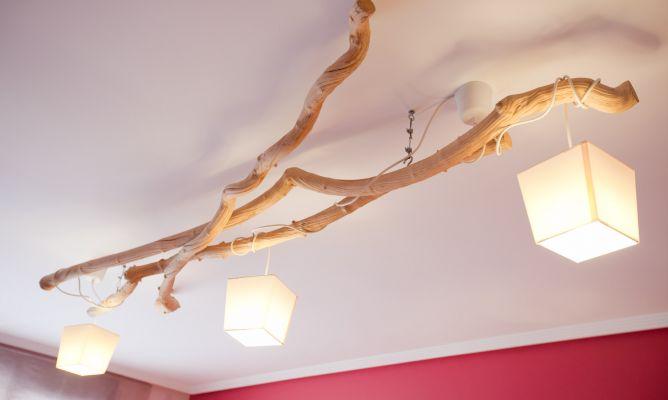 C mo hacer una l mpara de techo con ramas secas decogarden - Como hacer una lampara de pared ...