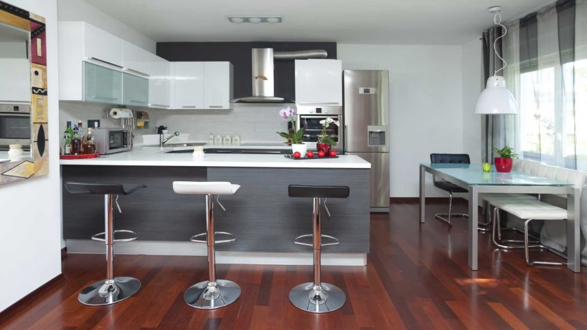 Cocina blanca y gris   hogarmania