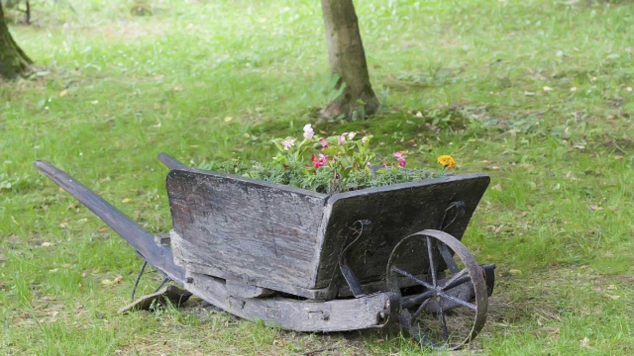 Decorar el jard n con carretillas con plantas de madera - Jardines decorados con madera ...