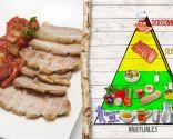 Panceta y lomo con piperrada, plato rico en proteínas