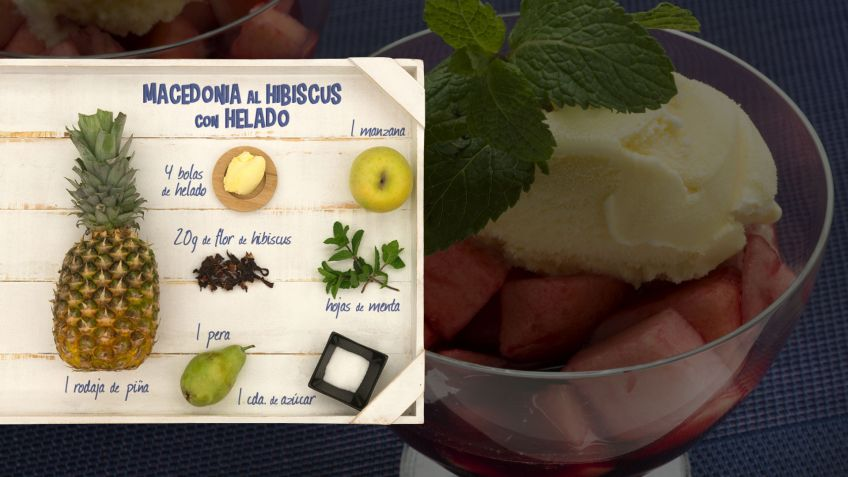 Macedonia al hibiscus con helado - Ingredientes