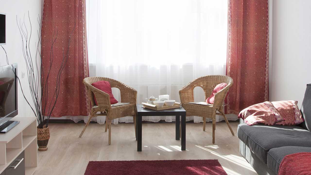 para decorar una sala de color rojo, gris y beige? A continuación, y