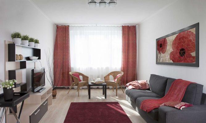 Sala de color rojo gris y beige hogarmania for Hogarmania com decoracion
