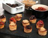 Mini volovanes de morcilla, pimientos y manzana