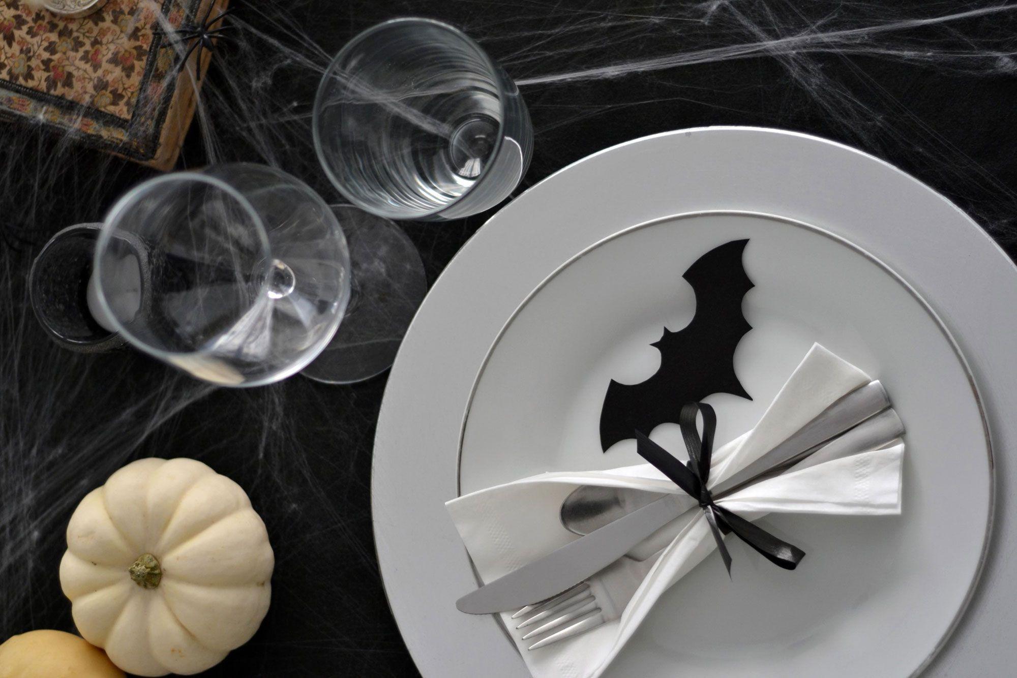 cubiertos, vasos copas mesa halloween