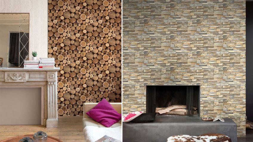 decorar paredes con papel pintado estilo rstico - Decorar Paredes