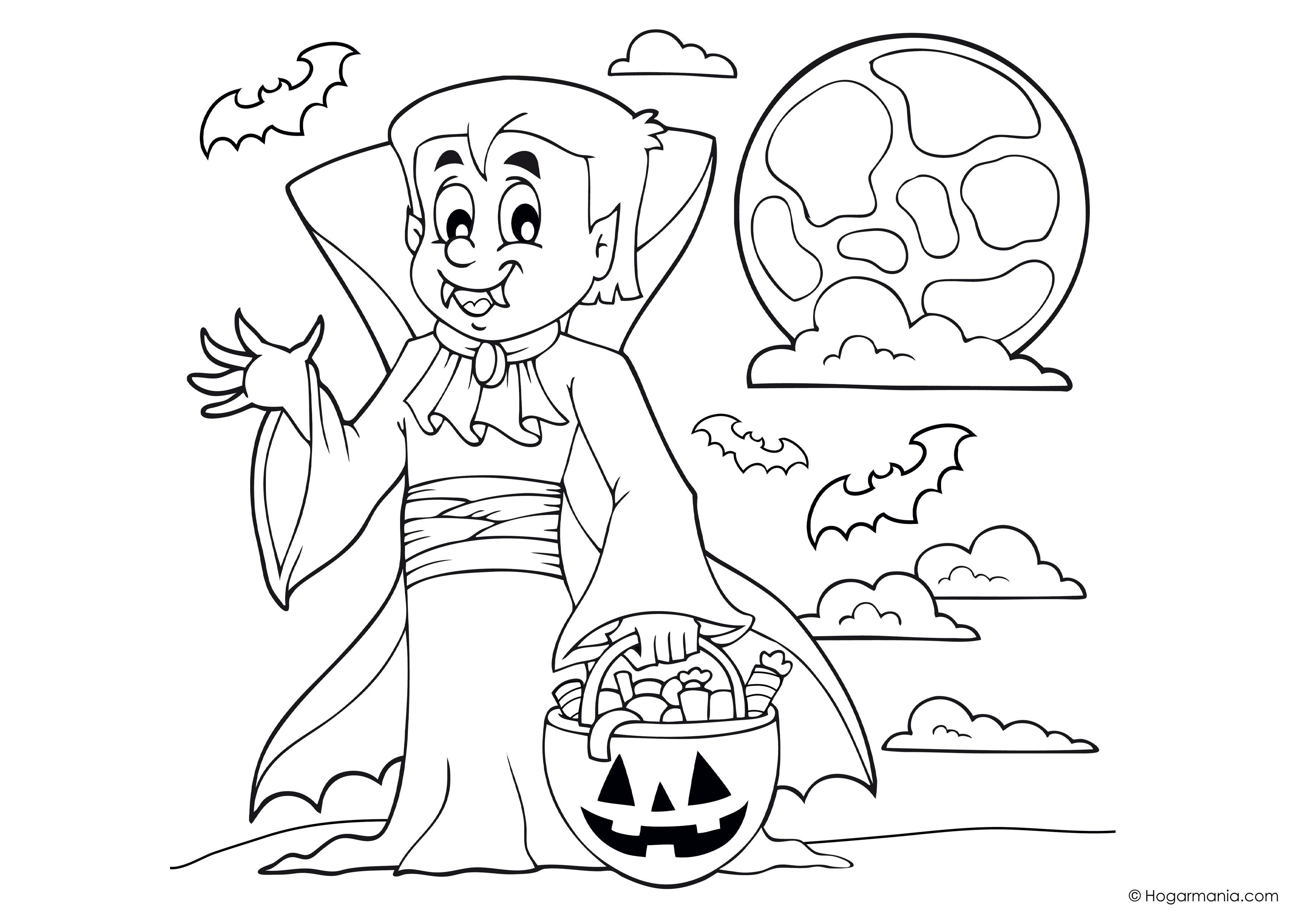Dibujo Para Colorear De Heihei El Personaje De La: Dibujo De Halloween Con Personajes Para Colorear