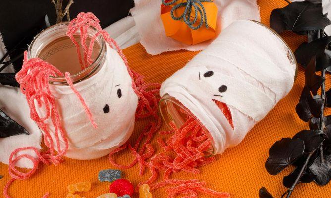 Decorar Tarros De Cristal Estilo Momia Para Halloween