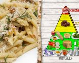 Macarrones con cerdo, verduras y castaña, plato nutritivo y energético