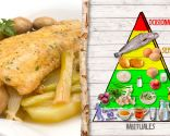 Locha con cebolleta, patata y champiñón, recomendado para personas con colesterol
