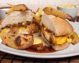 Hamburguesa de pollo con patatas al horno