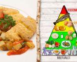 Bacalao con fritada y patatas, plato rico en proteínas