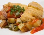 Bacalao con fritada y patatas
