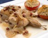 Codornices guisadas con tomates a la provenzal