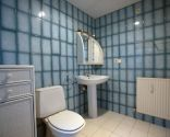 Baño luminoso en azul de estilo clásico