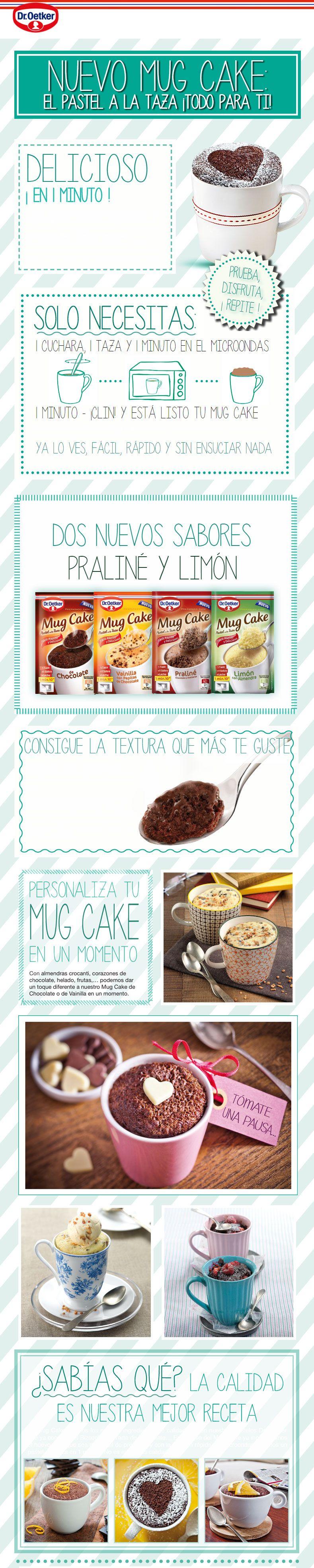 Inforgrafía de Cómo preparar tu Mug Cake de Dr.Oetker