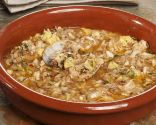Sopa de ajo y pescado