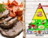 Espaldilla asada con pimientos y cebolletas, plato rico en proteínas