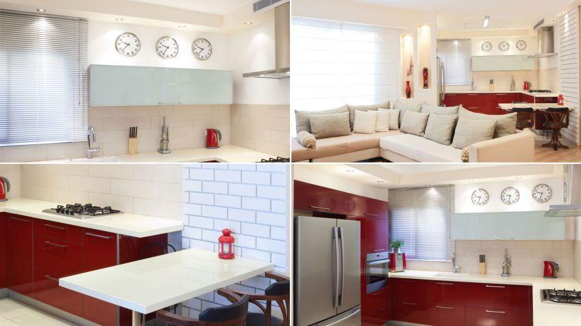 Cocina luminosa blanca y roja abierta al salón - Hogarmania