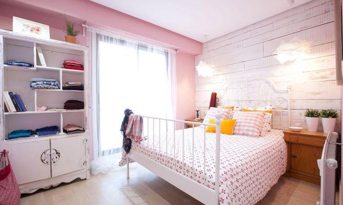 Dormitorio rom ntico en rosa y blanco decogarden for Habitacion lila y blanca