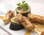 Mini pinchos de pollo con verduras gratinadas