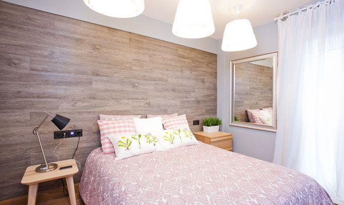 Dormitorio sofisticado en malva y gris