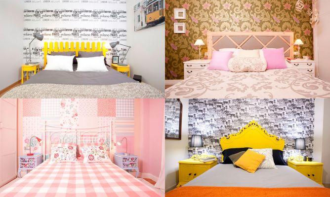 Decorar la pared del cabecero con papel pintado decogarden - Papel pintado cabecero cama ...