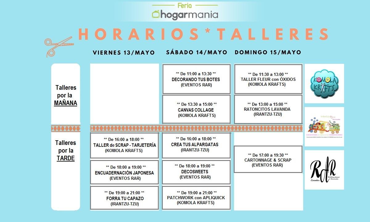 Horarios de los talleres de la Feria Hogarmania