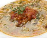 Sopa de verduras y arroz con alegrías riojanas