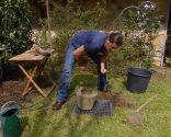 Colocar una fuente japonesa de bambú en el jardín