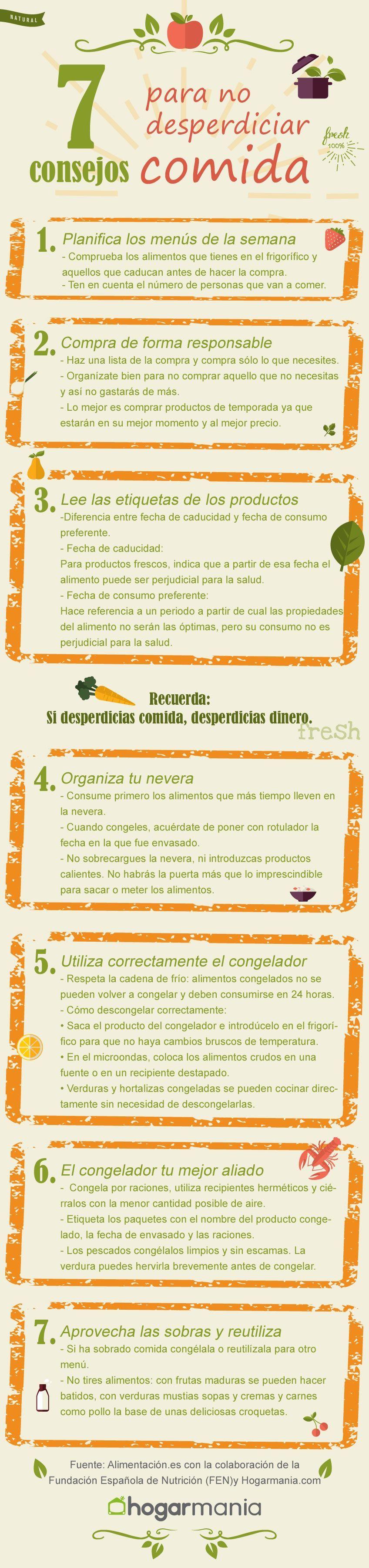 Infografía: 7 consejos para no desperdiciar comida