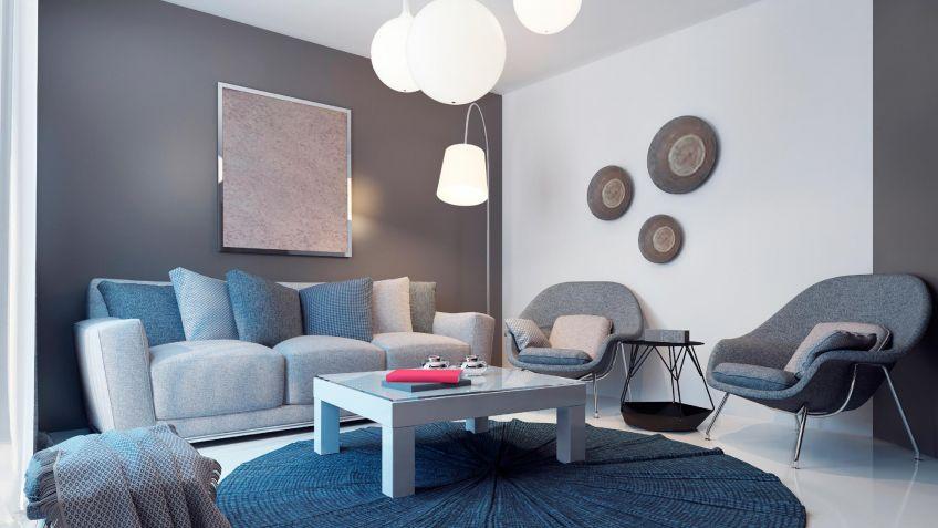 Decoración de salón en azul, gris y marrón - Hogarmania