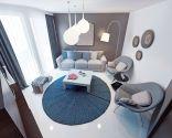 Decoración de salón en azul, gris y marrón