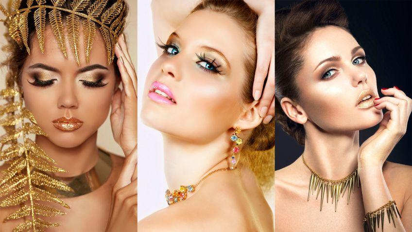 Maquillaje de noche para un vestido dorado