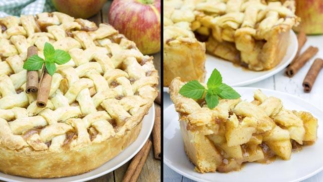 Tarta de manzana americana con forma de rejilla
