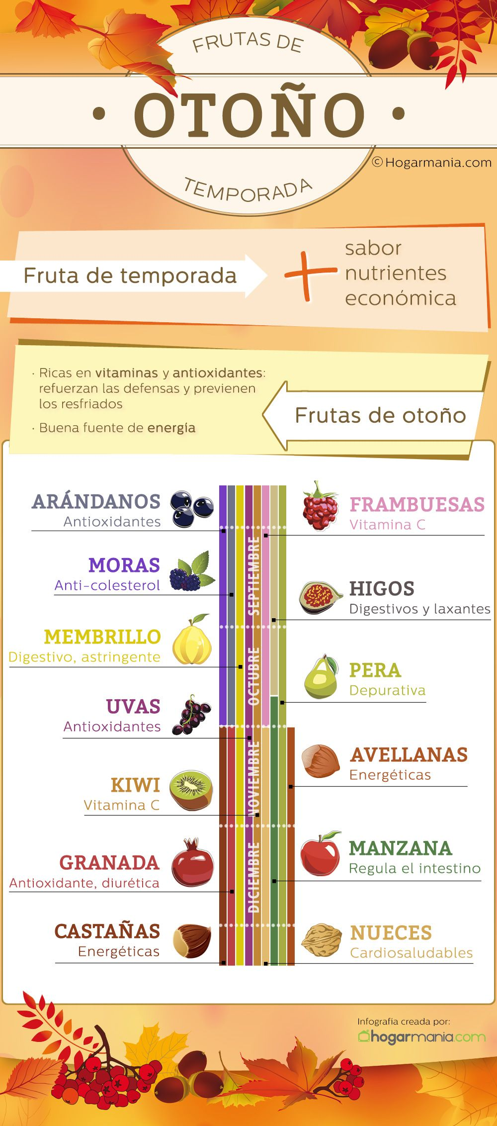 Frutas de otoño: infografía