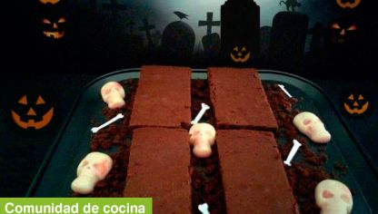 Brownie de chocolate y naranja para Halloween - Creandoaficiones