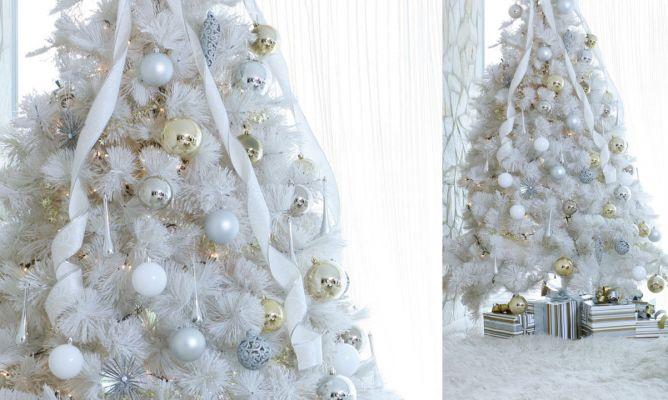 Como adornar un arbol de navidad azul y plata - Decorar arbol de navidad blanco ...