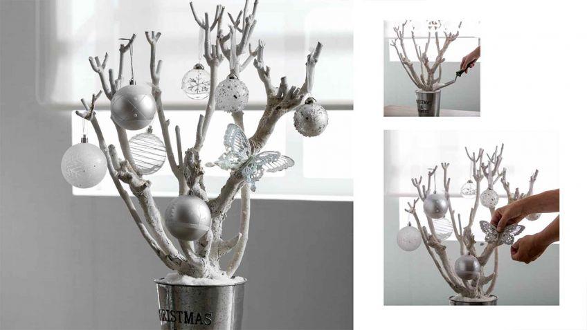 rbol de navidad con ramas decorado en blanco gris y cristal
